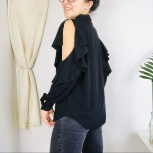 & other stories Ruffle Cold Shoulder Button Up Top